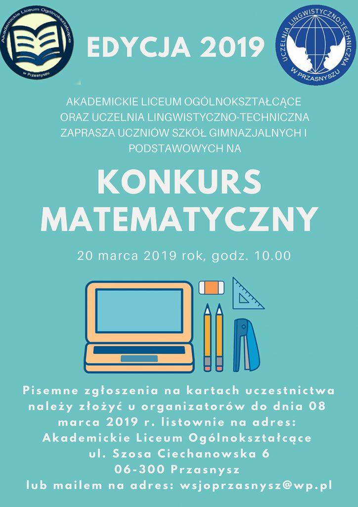 Konkurs matematyczny - edycja 2019